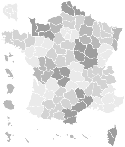 Carte de France par départements